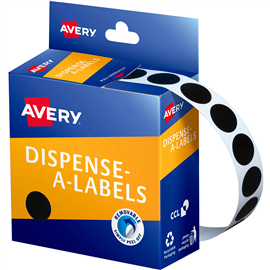 AVERY 937242 ROUND LABELS 14MM BLACK BOX 1050