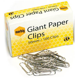 MARBIG PAPER CLIPS ROUND 50MM BOX 100