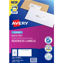 AVERY 959029 L7159 QUICK PEEL ADDRESS LABEL LASER 24UP WHITE PACK 100