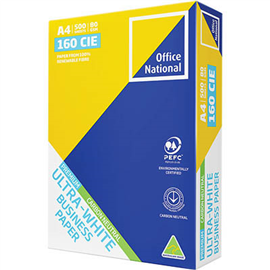 OFFICE NATIONAL A4 ULTRA WHITE CARBON NEUTRAL COPY PAPER 80GSM WHITE PACK 500 SHEETS