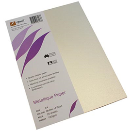 QUILL METALLIQUE PAPER A4 120GSM MOTHER OF PEARL PACK 25