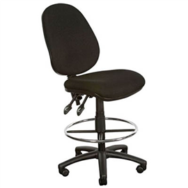 YS DESIGN 08 DRAFTING CHAIR HIGH BACK BLACK